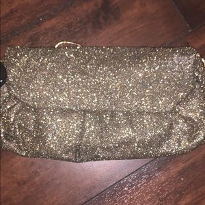Gold clutch bag